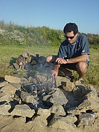 Garn Isaf Camping Abercastle Pembrokshire Coastal Path Campfire BBQ Firepit
